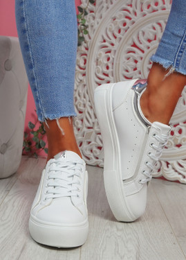 Hofa White Silver Flatform Trainers