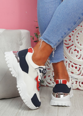 Nova White Blue Red Chunky Trainers