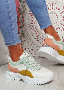 Nova White Yellow Orange Chunky Trainers