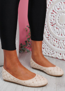 Bono Beige Quilted Flat Ballerinas
