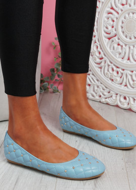 Bono Blue Quilted Flat Ballerinas