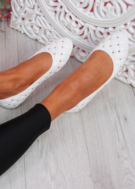 Bono White Quilted Flat Ballerinas