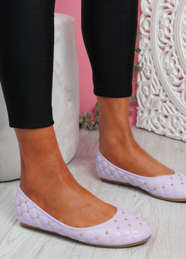 Bono Purple Quilted Flat Ballerinas