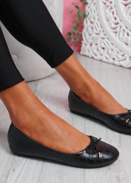 Rono Black Croc Ballerinas