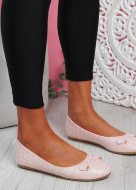 Rono Pink Croc Ballerinas