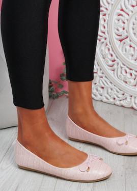 Rono Pink Croc Ballerinas