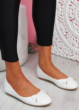 Rono White Croc Ballerinas