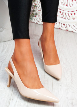 Inso Beige Sling Back Stiletto Pumps