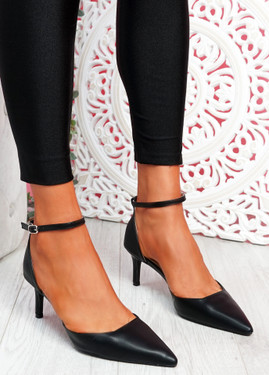 Sivo Black Stiletto Ankle Strap Pumps