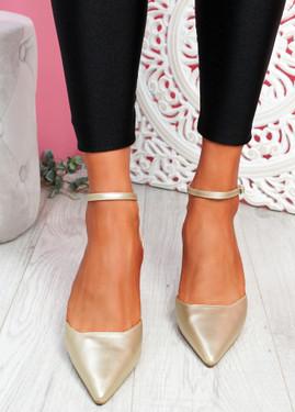 Sivo Gold Stiletto Ankle Strap Pumps