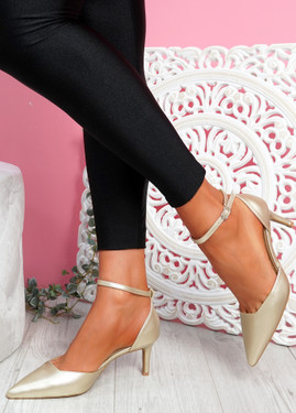 Sivo Gold Stiletto Ankle Strap Pumps
