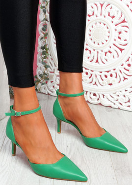 Sivo Green Stiletto Ankle Strap Pumps