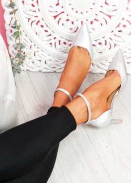 Sivo Silver Stiletto Ankle Strap Pumps