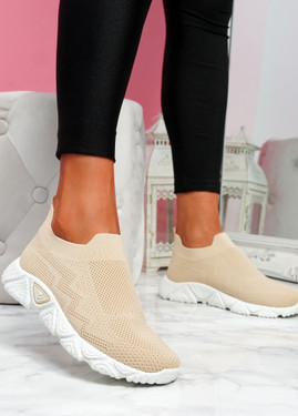Pode Beige Knit Trainers
