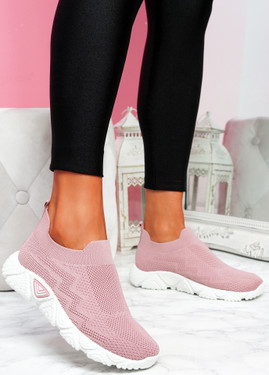 Pode Pink Knit Trainers