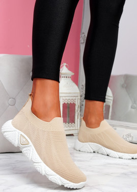 Komy Beige Slip On Sneakers