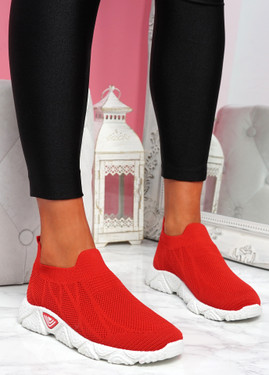 Komy Red Slip On Sneakers