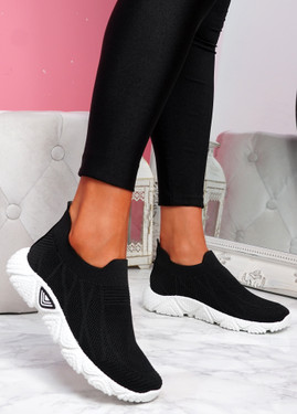 Komy Black Slip On Sneakers