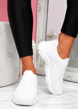 Komy White Slip On Sneakers