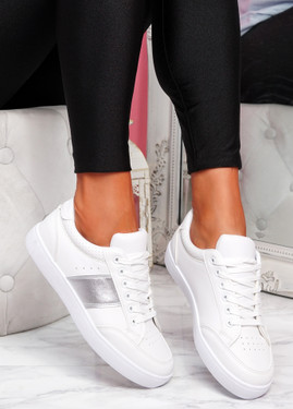Nofy White Silver Lace Up Trainers
