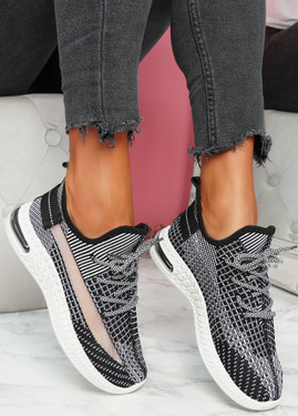 Flery Black Knit Sport Sneakers