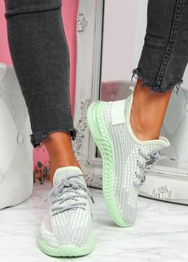 Flery Green Knit Sport Sneakers