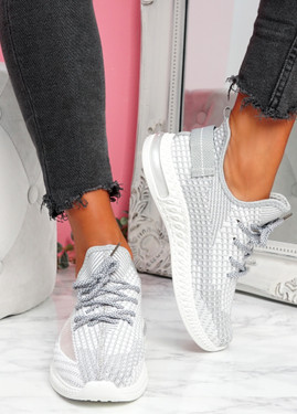 Flery Grey Knit Sport Sneakers