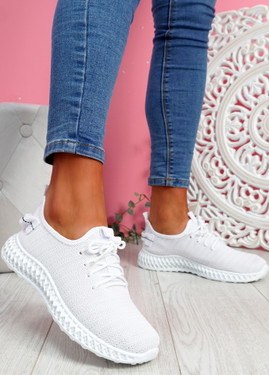 Nango White Knit Running Trainers