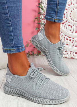 Nango Grey Knit Running Trainers