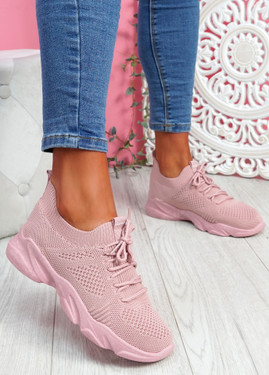 Nilly Pink Chunky Knit Sneakers