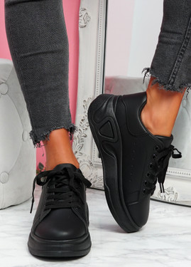 Huzy Black Wedge Platform Trainers