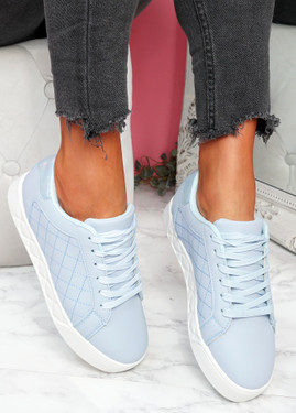 Nonne Light Blue Platform Trainers