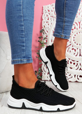 Isso Black Knit Running Trainers