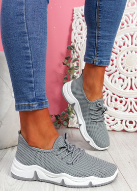 Isso Grey Knit Running Trainers