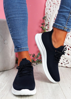 Fovy Navy Knit Running Sneakers