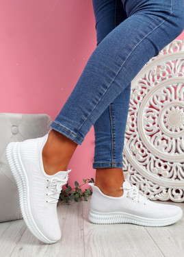Fovy White Knit Running Sneakers