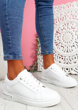 Jonna All White Croc Pattern Trainers