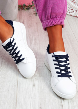 Fone White Blue Lace Up Trainers