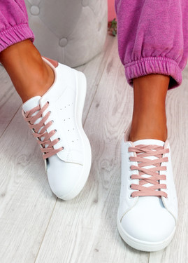 Fone White Pink Lace Up Trainers