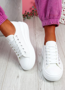 Firre White Lace Up Sport Trainers