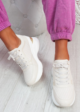 Panna Beige Wedge Chunky Trainers