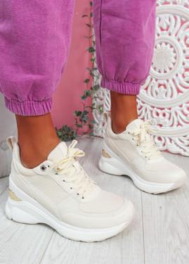 Pagy Beige Wedge Chunky Sneakers