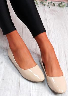 Joby Apricot Patent Flat Ballerinas