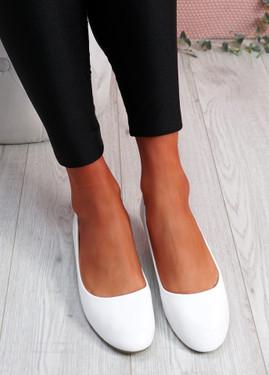 Boddy White Slip On Ballerinas