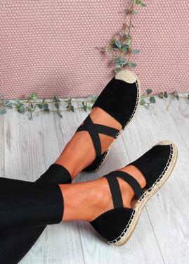 Fove Black Espadrille Ballerinas