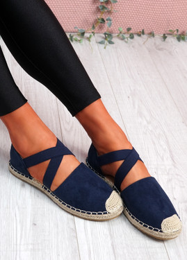 Fove Dark Blue Espadrille Ballerinas
