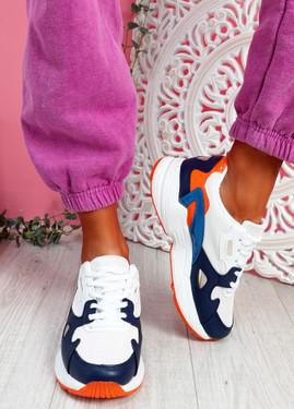 Yusa White Orange Chunky Sneakers