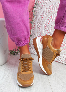 Goze Camel Wedge Trainers
