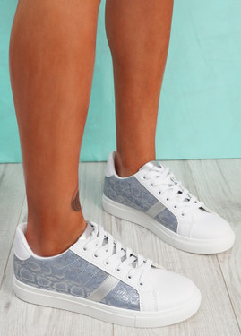 Ronno Blue Snake Pattern Trainers