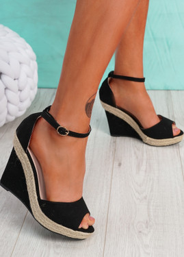 Tany Black Wedge Sandals